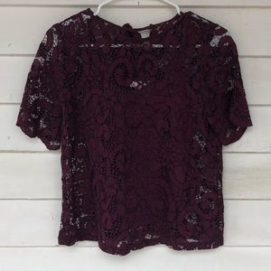 Nanette Lepore small lace top wine maroon floral